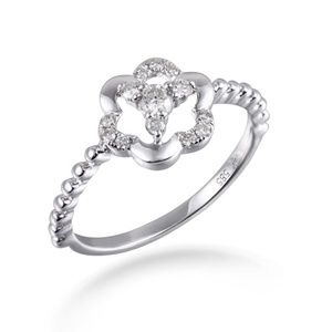 14K White Gold Natural Diamond Simple Ring Jewelry